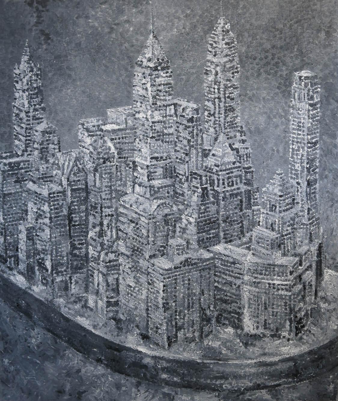 Urban model (Manhattan) - Oil on Canvas, 160 x 130 cm, 2014